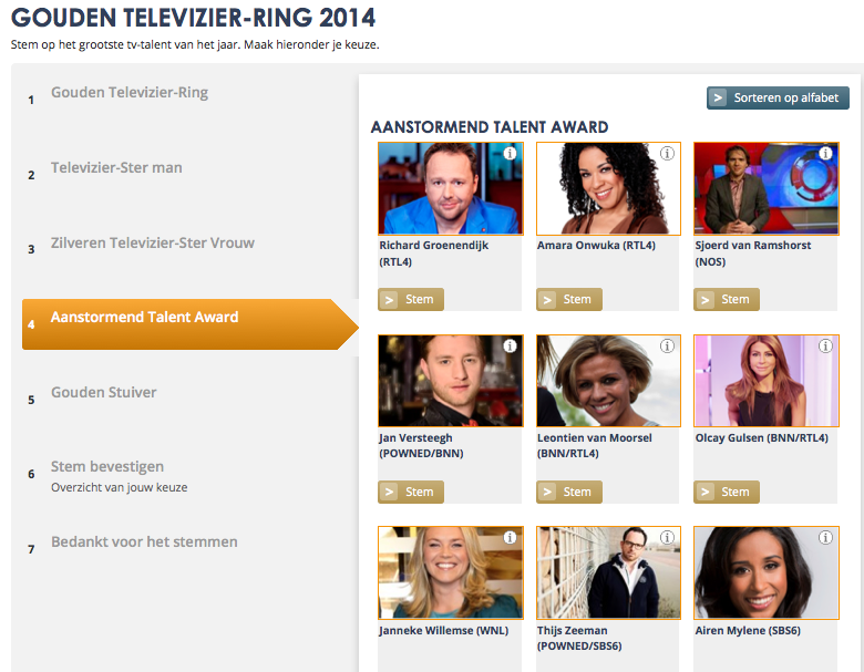 Genomineerd voor de Aanstormend Talent Award bij de Gouden Televizier-ring 2014